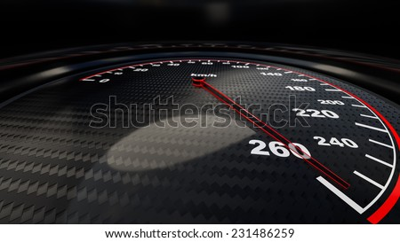 Speed gauge illustration for motion or power concepts. Render image - stock photo