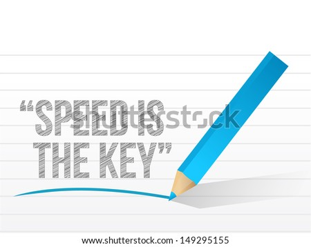 speed is the key written on a notepad paper. illustration design