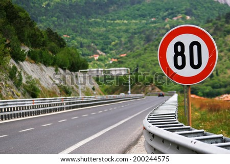 Speed limit - 80 - stock photo
