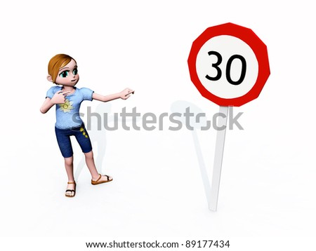 Speed Limit 30 Computer generated 3D illustration - stock photo