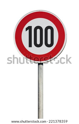 speed limit 100 kilometers Traffic Sign isolated  - stock photo