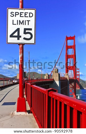 Speed limit sign at Golden Gate Bridge in San Francisco, California - stock photo