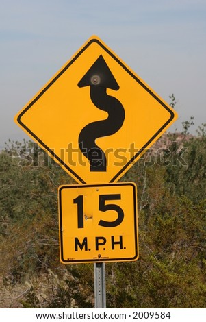 Speed limit sign on a desert road On a road in South Mountain State Park - stock photo