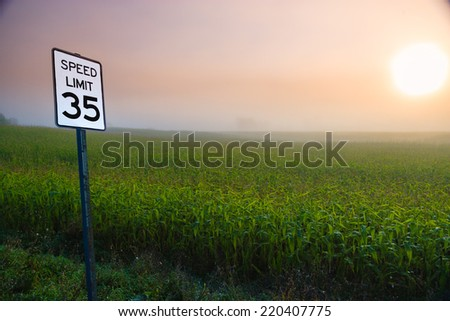 Speed limit 35 sign on a rural country road, Stowe, Vermont, USA - stock photo