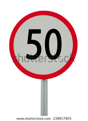 speed limit sign 50 on white background. - stock photo