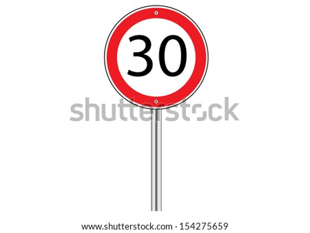 Speed Limit Traffic Road Sign on White