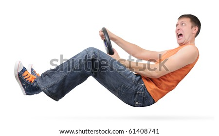 Speed man driver with wheel isolated on withe background - stock photo