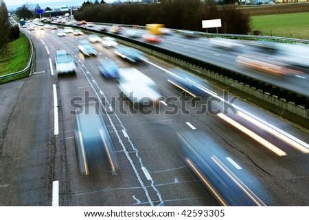 speed morning traffic motion blur - stock photo