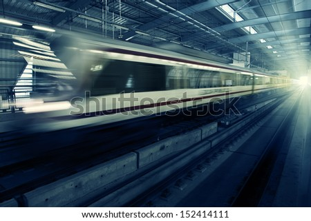 Speed motion Bangkok train on station