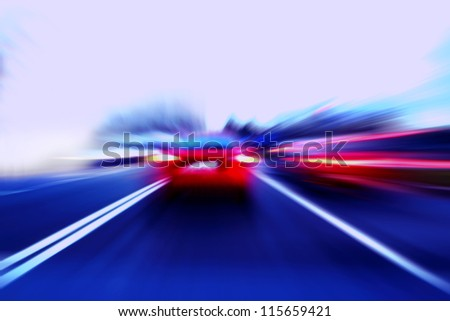 speed motion car on street - stock photo