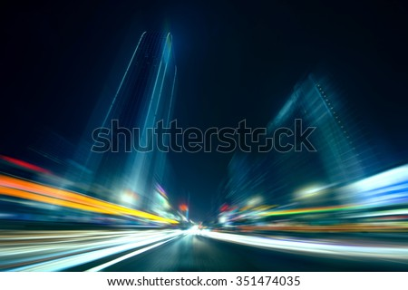 Speed motion in the city - stock photo