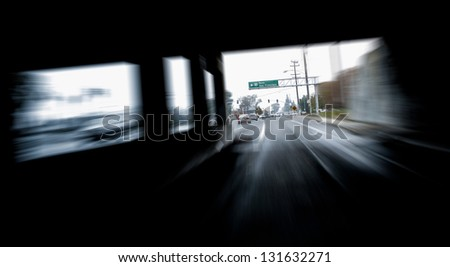 speed motion in tunnel - stock photo