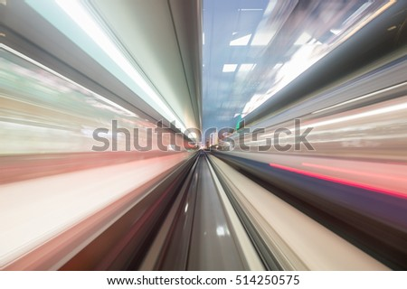 Speed motion in urban highway road tunnel