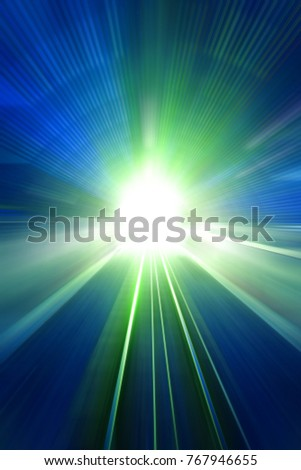Speed motion lights at night. Abstract futuristic background