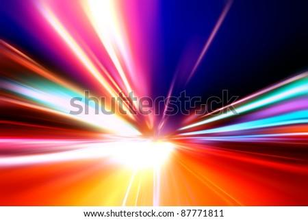 speed motion on night highway - stock photo