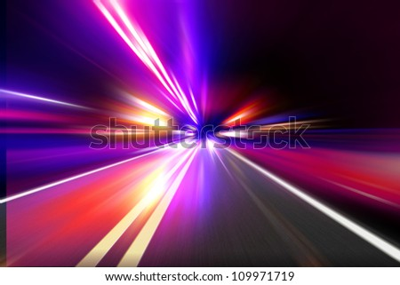 speed motion on night road - stock photo