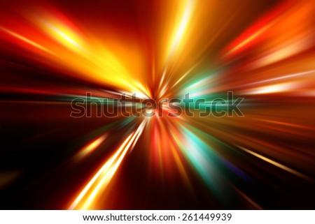 speed motion on night road - stock photo