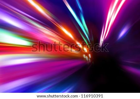 speed motion on night street - stock photo