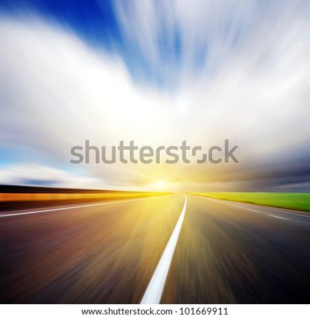 speed on road - stock photo