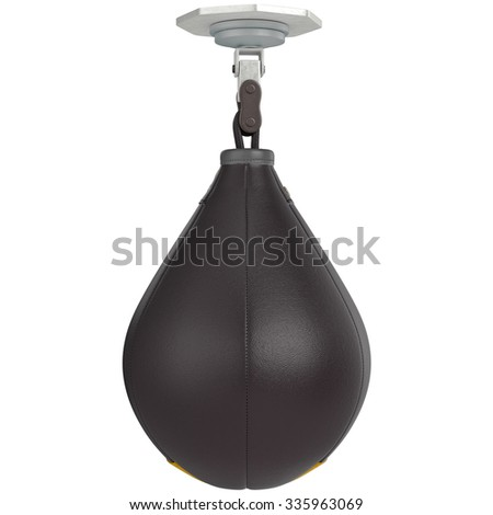 Speed punching bag, front view. 3D graphic object on white background isolated - stock photo