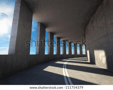 Speed road tunnel - stock photo
