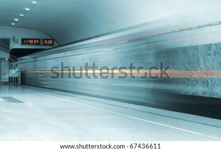 speed train in metro - stock photo