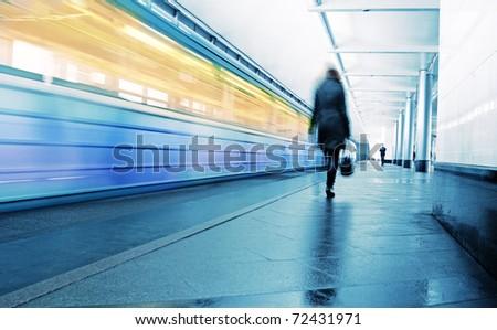 Speed train on a platform - stock photo