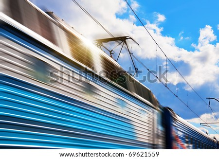 Speed train with motion blur - stock photo