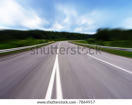 Speed way. Photo with motion blur effect. - stock photo