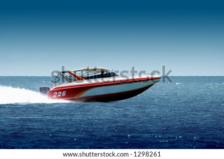 Speedboat cruising in the sea - stock photo