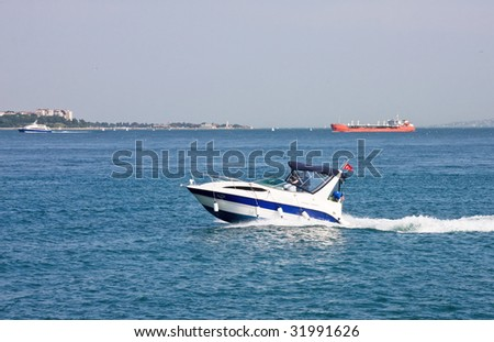 Speedboat drive its way in sea - stock photo