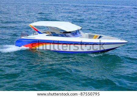 Speedboat navigating in the Gulf of Thailand Sea. - stock photo