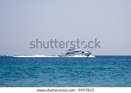 speedboat on the race - saint-tropez, french riviera - stock photo
