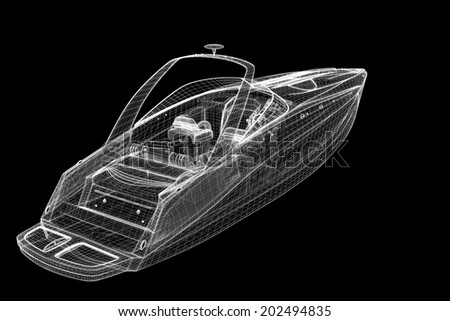 speedboat, Speeding Powerboat,3D model body structure, wire model - stock photo