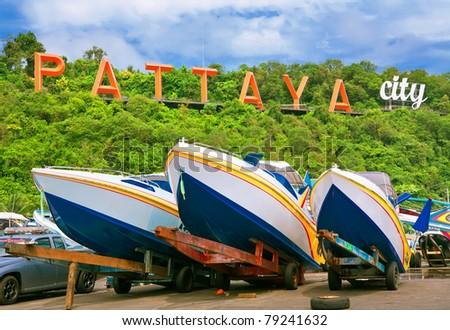 speedboats at pattaya city - stock photo