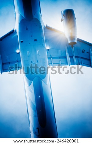speeding airplane, take off from the airport shanghai china. - stock photo
