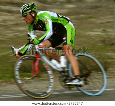 speeding bike racer