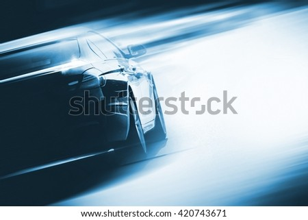Speeding Car Background Photo Concept. Vehicle on a Road. Motorsport Backdrop Concept with Copy Space. - stock photo