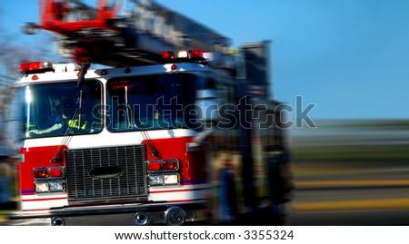 Speeding Firetruck - stock photo
