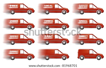 Speeding Red Delivery Truck Graphic