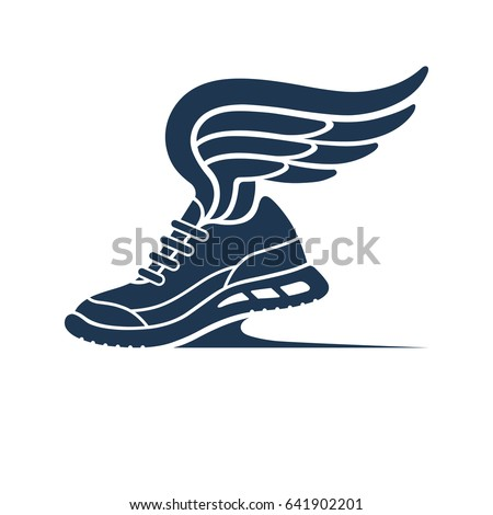 Speeding running shoe symbol, icon, logo. Sneaker silhouette with wings. Bitmap copy