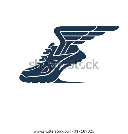 Speeding running sport shoe symbol, icon or logo.  Running shoe with wings isolated on white background.