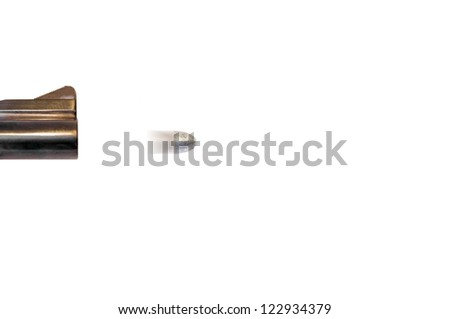 Speeding silver bullet.Gun barrel firing a bullet.Motion blur of bullet indicates high speed.Concept suggests finding a quick fix or solution to a problem.Isolated on a white background.Room for text. - stock photo