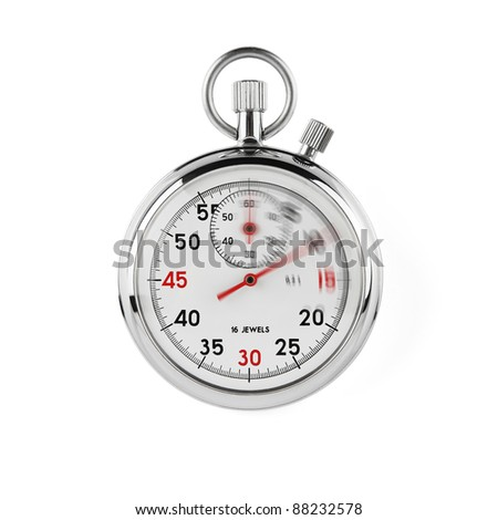 Speeding stopwatch on white background with clipping path - stock photo