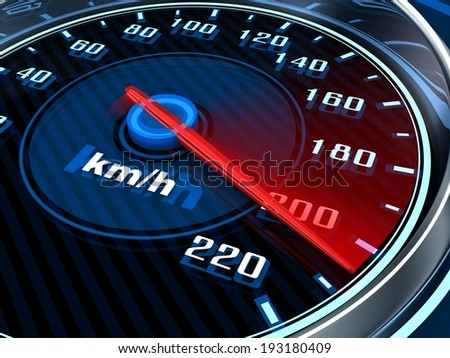 Speedometer and arrow on 220 (done in 3d)     - stock photo