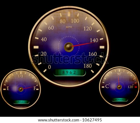 Speedometer and other dials - stock photo