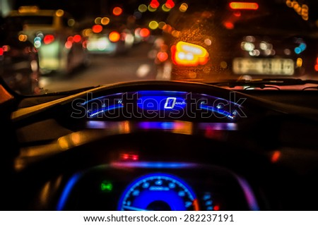 Speedometer and tachometer in the car