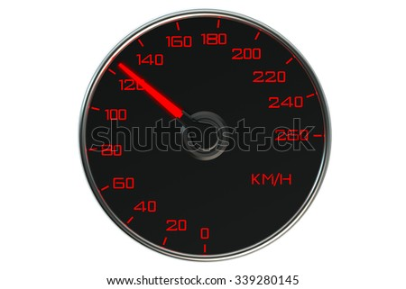 Speedometer closeup isolated on white background