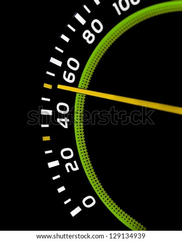 Speedometer detail showing 50 - stock photo