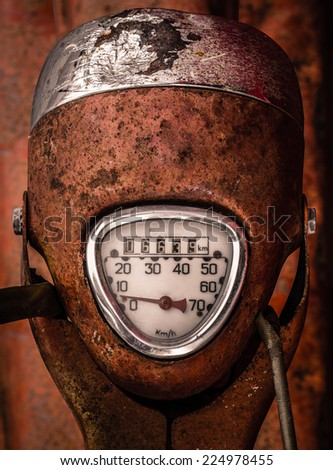 Speedometer Dial On A Grungy Old Scooter Or Moped - stock photo